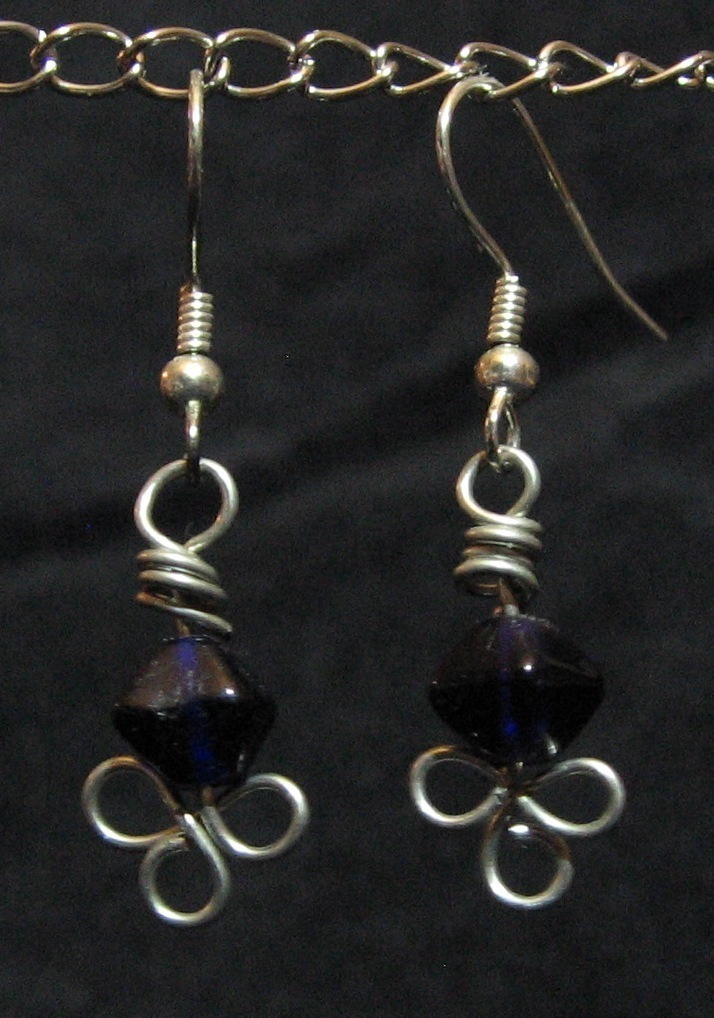 Purple Metalwork Clover Earrings - Artisan Handcrafted