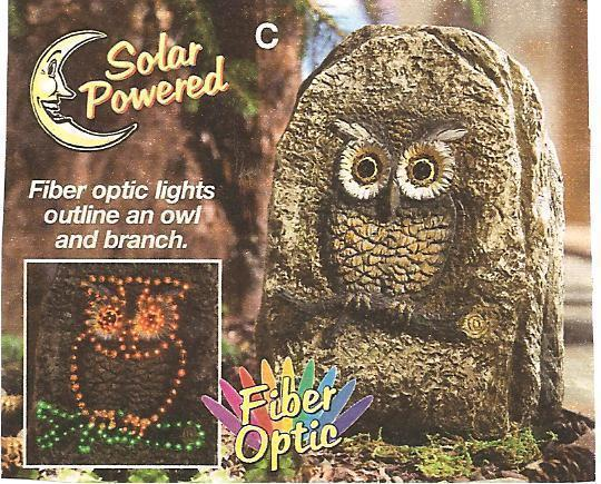 Landscaping Solar Lighted Rock with Owl Carving