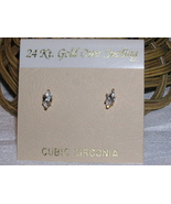 24K Gold over Sterling Silver CZ Stud Earrings - $9.00