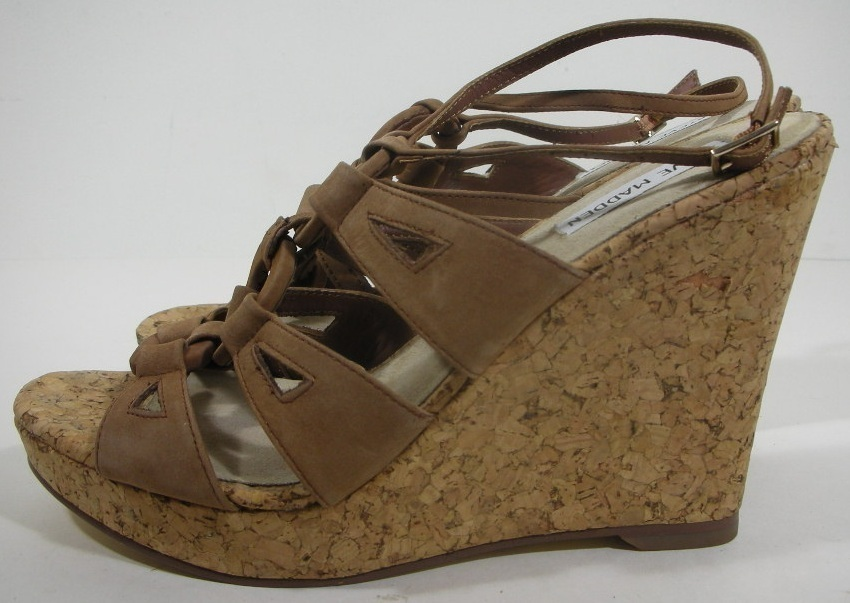 "Steve Madden Sandals Shoes Heels Size 8.5 Brown Wedges NEW Cork 5"" Heels"