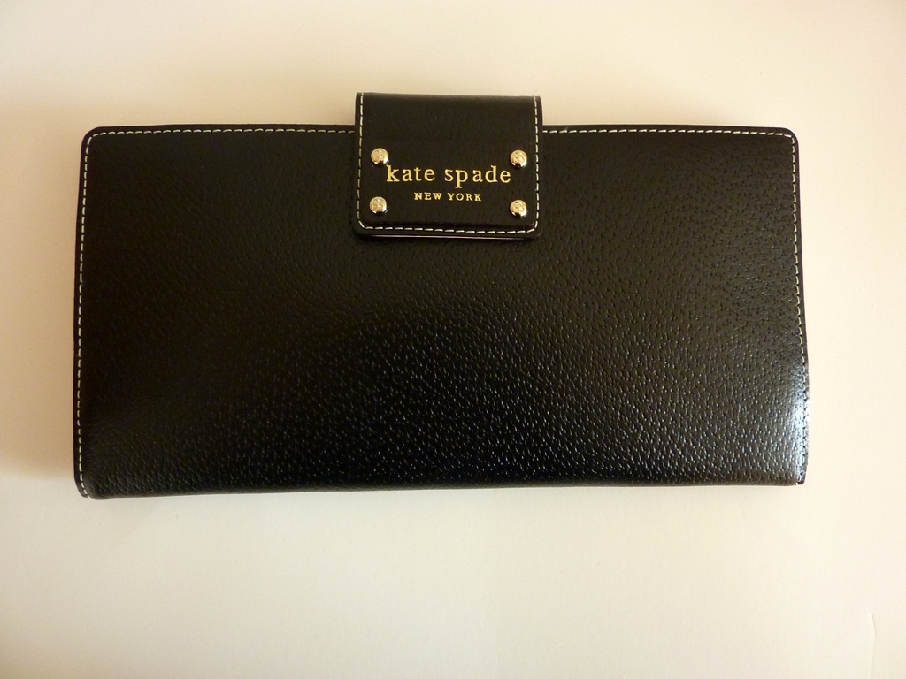 NWT KATE SPADE Black Leather Passport Travel Wallet Clutch