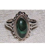 Sterling Silver Malachite Marquise Ring size 6 1/4 - $26.00