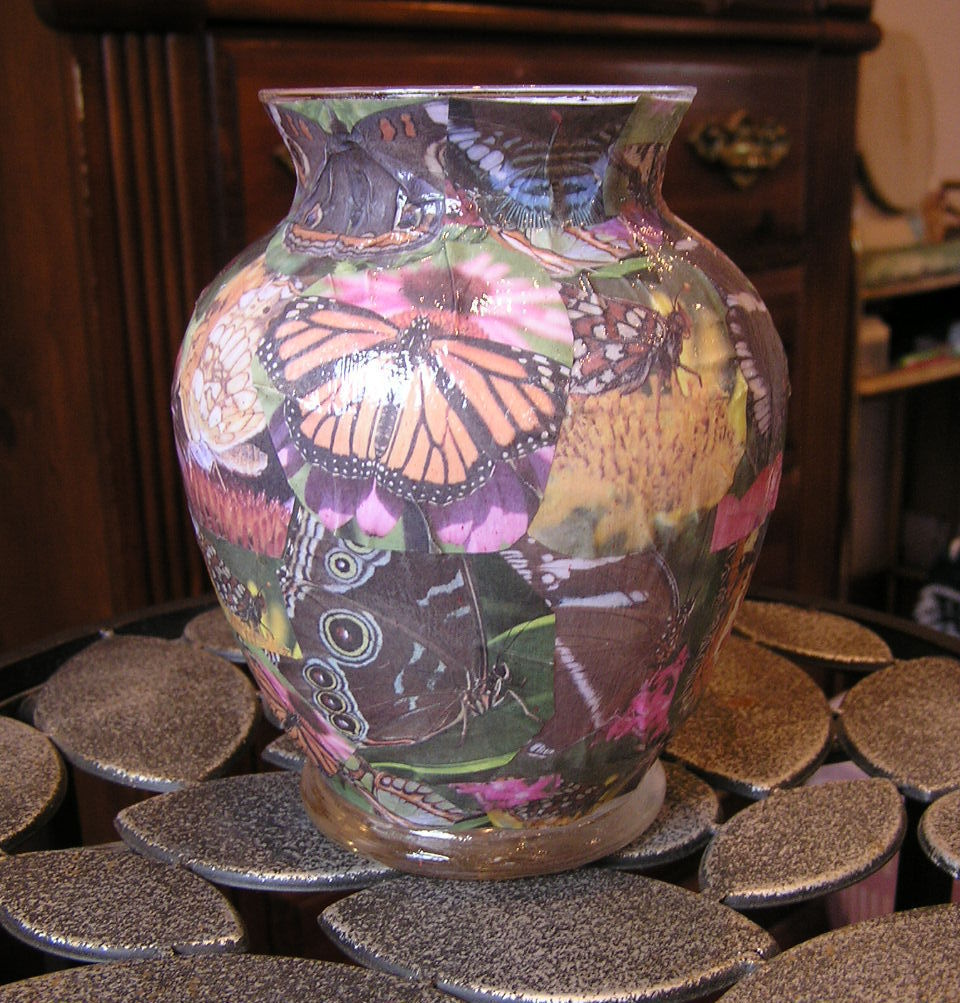 Butterfly Collage Decoupage Glass Vase