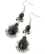 Beautiful Black Filigree Jewel Dangle Earrings - $10.00