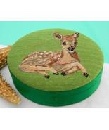 Vintage Embroidered Silk Deer Trinket Box Repub... - $22.95