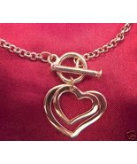 Two Hearts Love Silvertone Toggle Bracelet BEAU... - $4.50