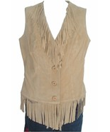 LEW MAGRAM Genuine Leather Suede Fringe Vest ME... - $59.99