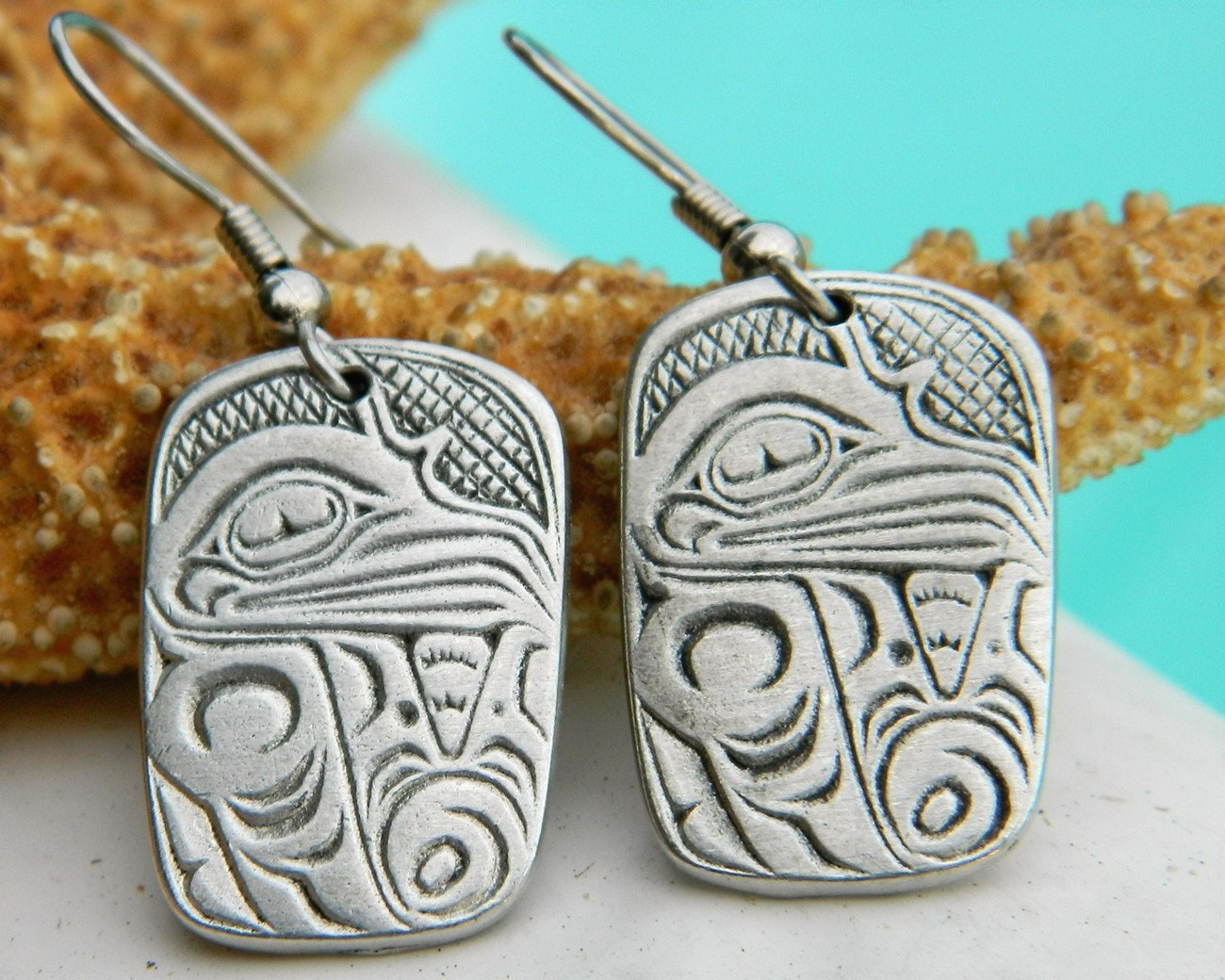 Pacific Northwest Haida Bird Raven Tribal Pewter Earrings