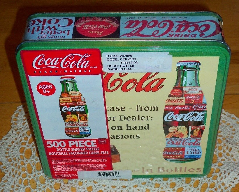 1990's COCA-COLA Bottle Shaped Puzzle in a Sealed Tin