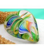 Art Glass Heart Multicolor Paperweight Glass Eye Chihuly 