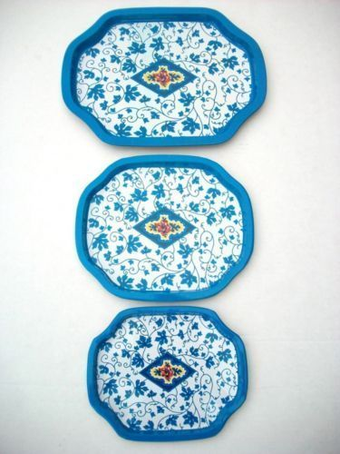 NESTING TRAYS BLUE WHITE GERMAN DESIGN