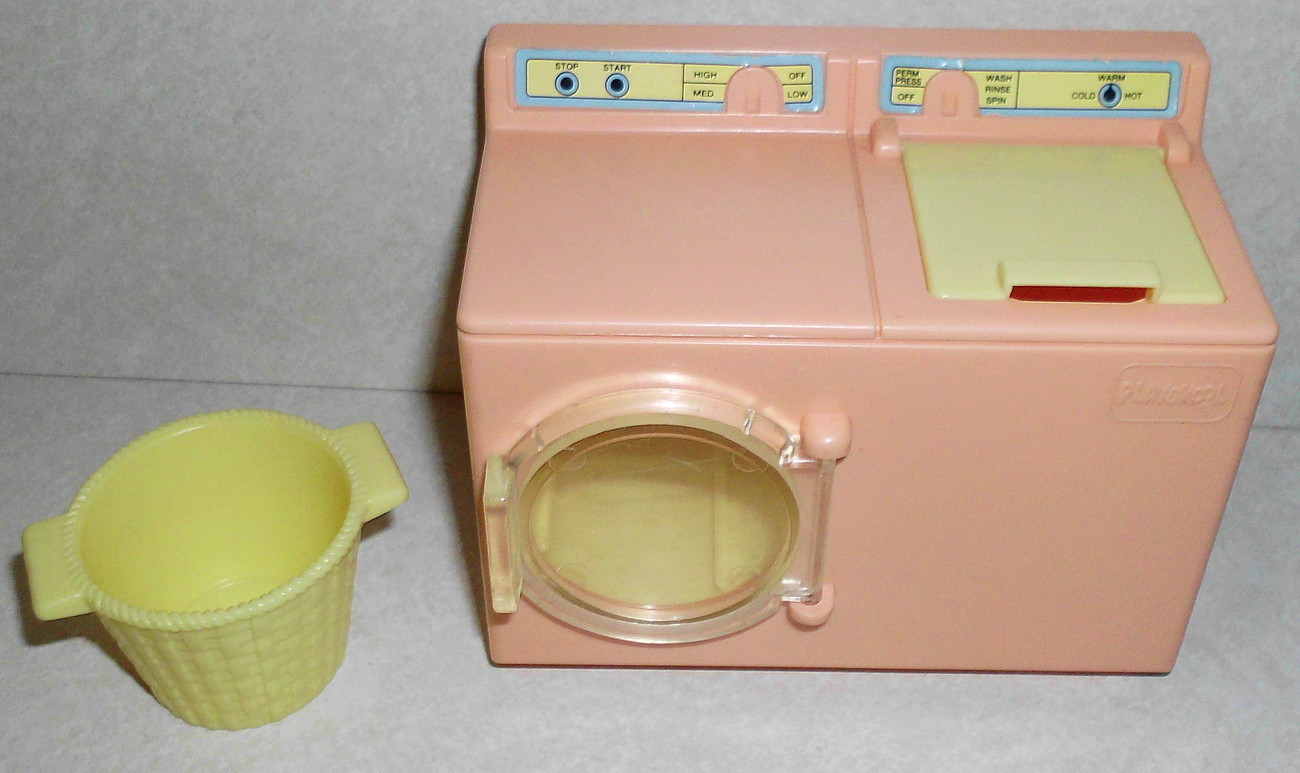 Playskool Dollhouse Furniture Laundry Washer Dryer & Basket
