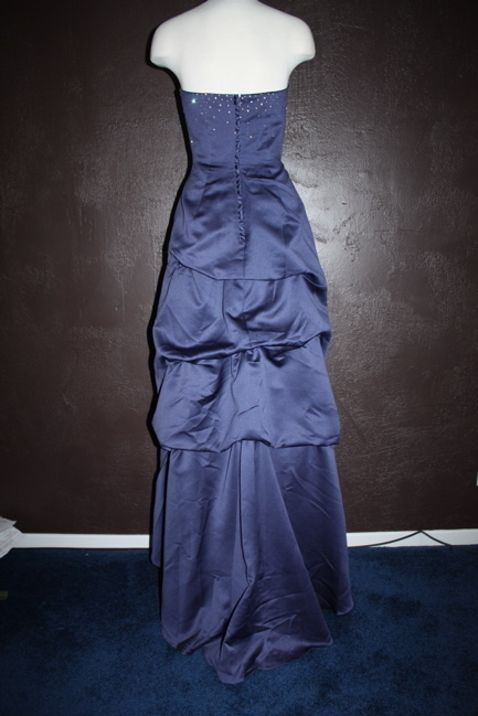 NWT 'BARI JAY' MIDNIGHT BLUE SATIN FORMAL DRESS ~ 4