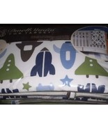 Boys Baby Bedding Dwell Studio Space Rocket Ship Crib Set 3pc Nursery - $115.00