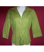 Style and Co  Green Blouse Size 8 Cotton - $11.78