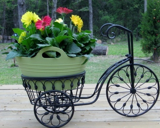 Bicycle plant stand flower pot holder iron bike indoor outdoor plant stands - Bicycle planter stand ...