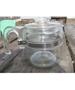 Vintage Pyrex Glass Coffee Tea Pot Blue Tint  Four cup 7754 USA  - $60.00