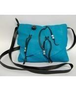Maverick Turquoise Leather Purse Deerskin Handc... - $100.00