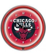 Chicago Bulls NBA Chrome Double Ring Neon Clock... - $87.56