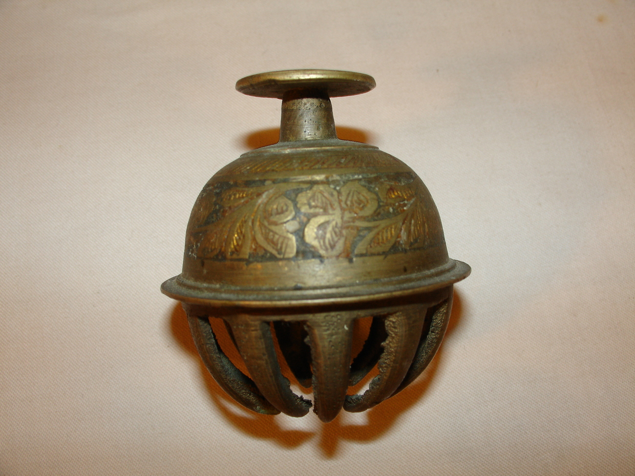Vintage Etched Brass Elephant Claw Bell Other