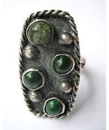 Vintage Navajo Ring 4 Dark Green Turquoise, Rop... - $40.00