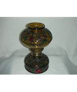 Vintage Oil Lamp by Sail Boat Faux Stained Glas... - $35.00