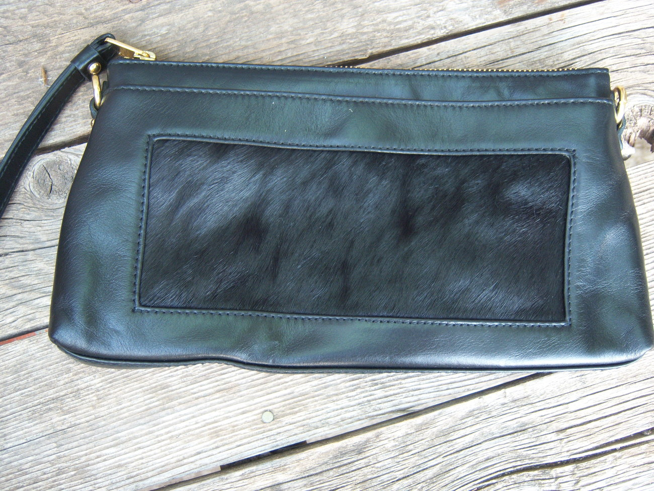 Kate Landry Leather black calf hair Red clutch handbag