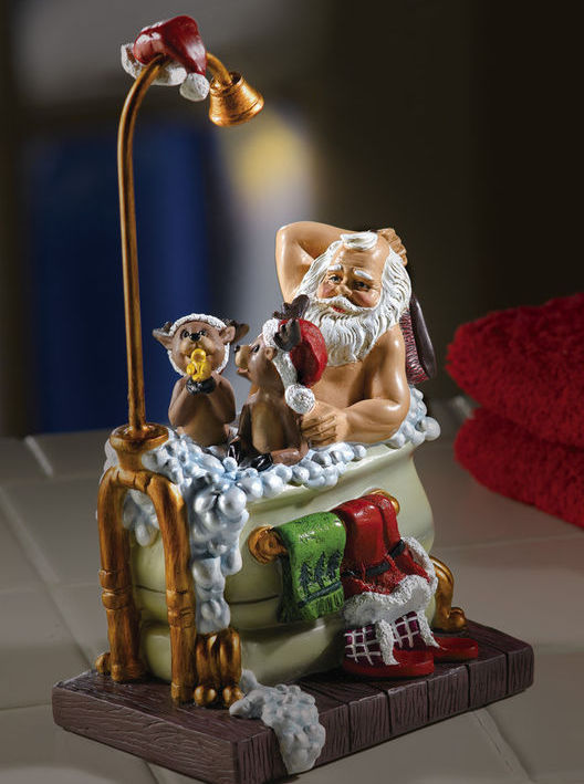 Lighted Musical Bathing Santa With Reindeer New
