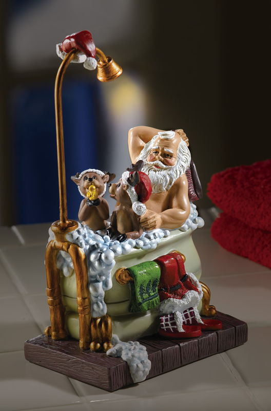 Image 1 of Lighted Musical Bathing Santa With Reindeer New