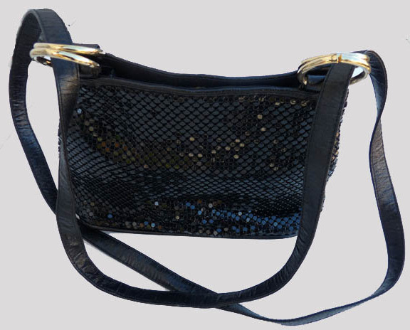 Whiting   Davis Black Mesh Metal bag Dressy Jeans Shoulder