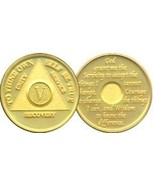 37 Year AA Gold Tone Alcoholic Recovery Medalli... - $12.12