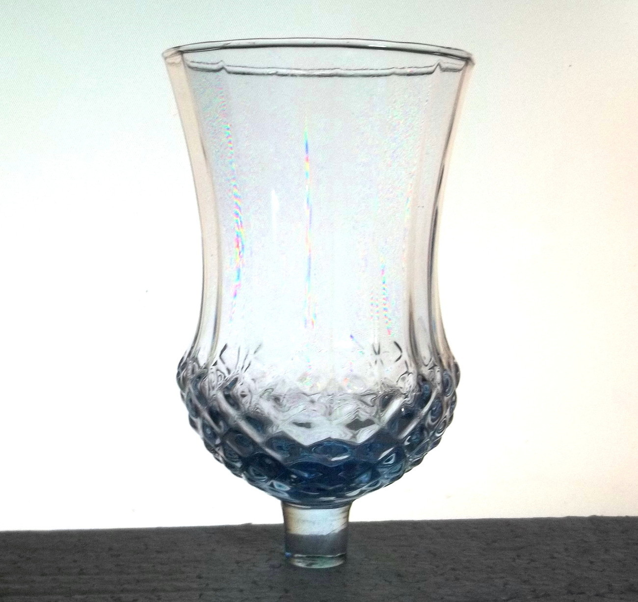 Home Interiors Votive Cup Glass Blue Pressed Diamond