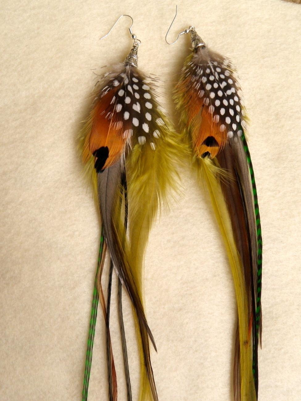 Trinidad Long Feather Earrings
