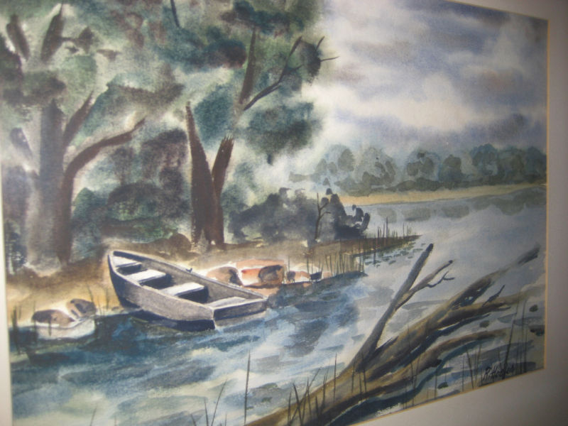 VTG SIGNED WATER COLOR  R.HOEFER PAINTING MID WEST