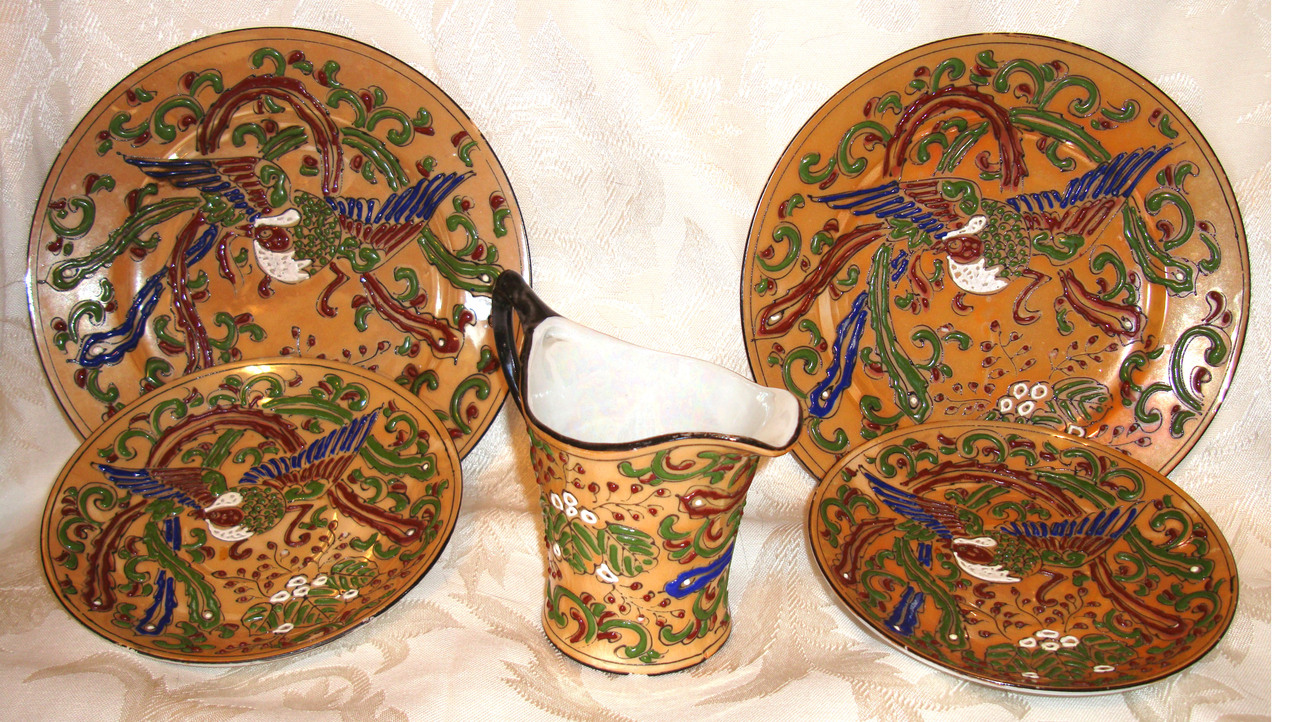 6 Nippon Raised Relief Lusterware Pieces   Made in Japan