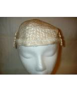 Vintage 1950's Ivory Formal Hat Rosettes Mother... - $14.99