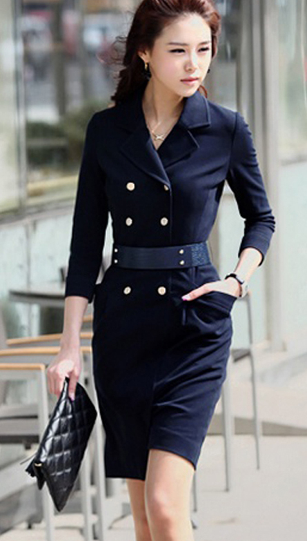 Modern Chic Double Breasted Navy Coat Dress. Military Inspired Shirt Dress