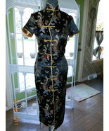 Asian dress gown cheongsam girls women black ma... - $12.00
