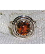 Amber and Sterling Silver Shield Ring size 7 3/4 - $27.00