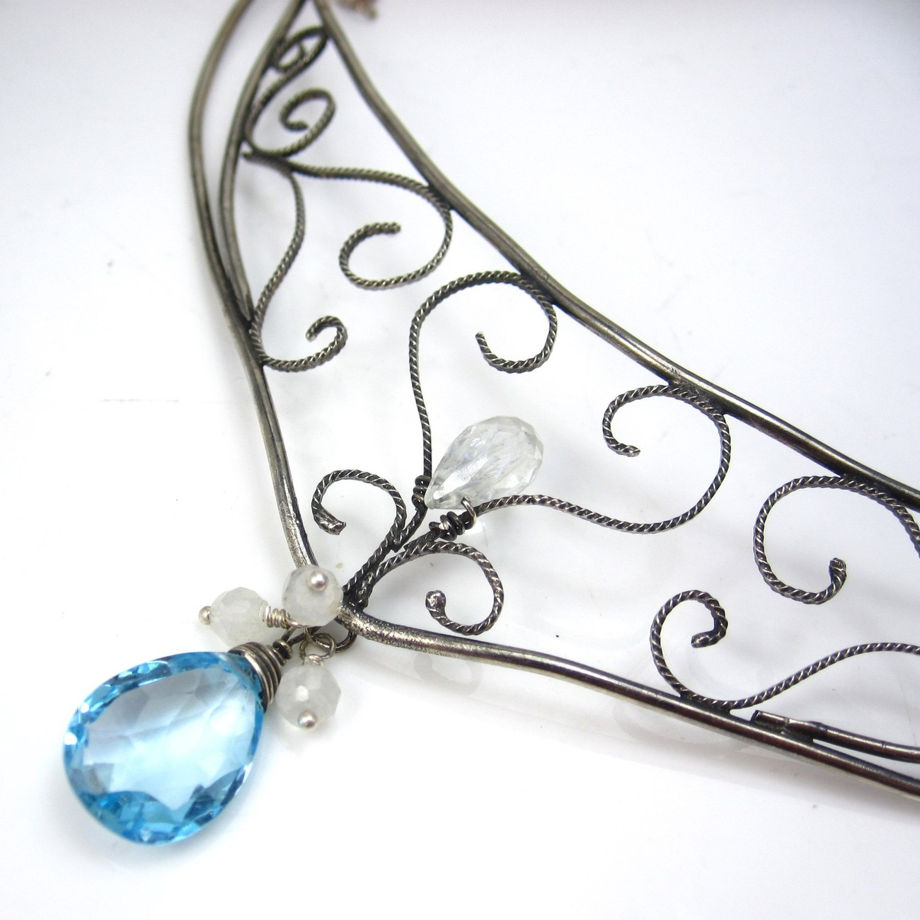 Filigree and Blue Topaz Necklace