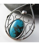 Blue Smoke Necklace - Turquoise and Black Spinel - $87.00