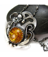 Fall Honey Necklace - Amber and Sterling Flower... - $194.00