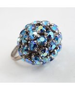 Vintage Blue Domed Rhinestone Ring Aurora Borea... - $39.95