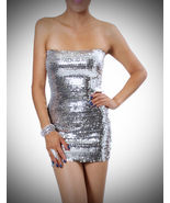 Silver Sequin Dress-One size fits most - $35.99