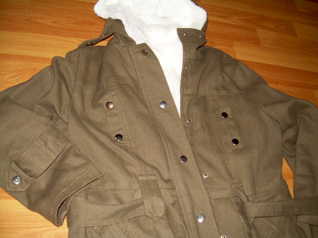 "Hooded & Belted Coat jacket with faux rabbit fur liner ""Army green"" size S"