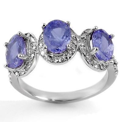 ACA Certified-3.08 ct Tanzanite & Diamond Ring White Gold
