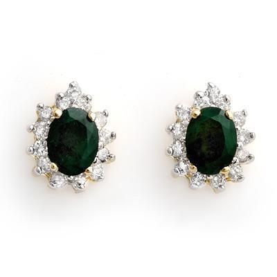 ACA Certified-3.85 ctw Emerald & Diamond Earrings 14K Yellow Gold