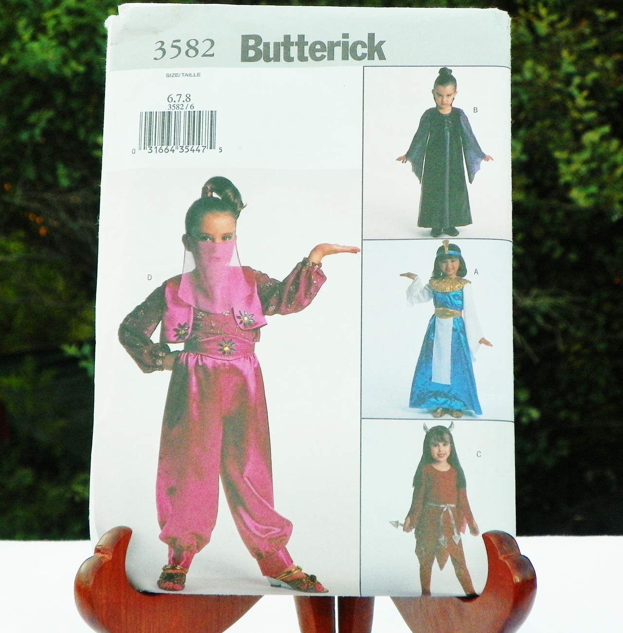 Uncut Butterick 3582 Girls Costume Pattern Cleopatra Harem Devil Medievel Wicca
