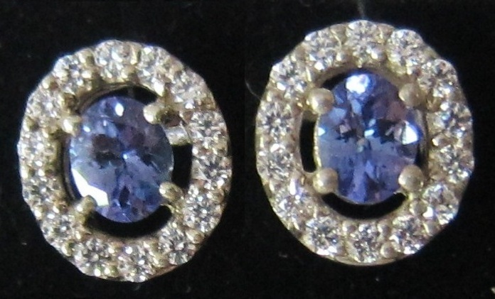 Glamorous Tanzanite & Diamond 14k White Gold Earrings