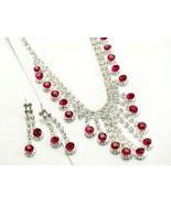 Fuchsia deep pink crystal evening necklace set ... - $16.82